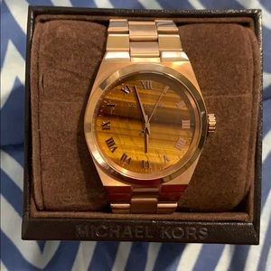 Michael Kors wood finish gold watch